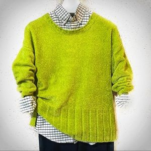 2for$30 SEVEN7 Lime Green Ultra Plush Chenille Oversized Chunky Knit Sweater